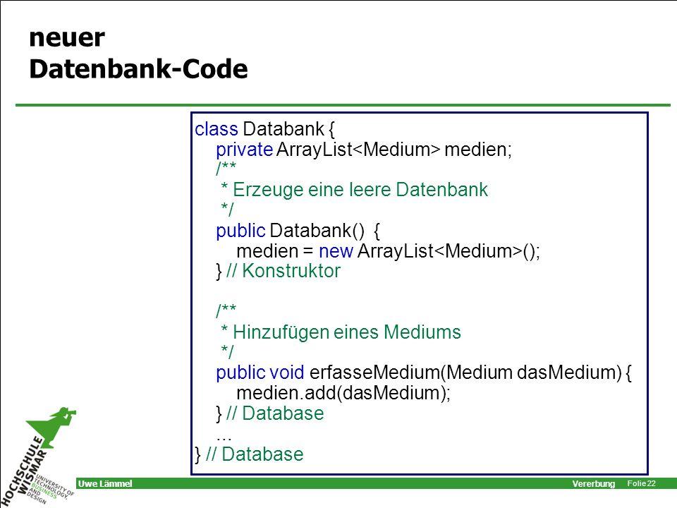 neuer Datenbank-Code class Databank {