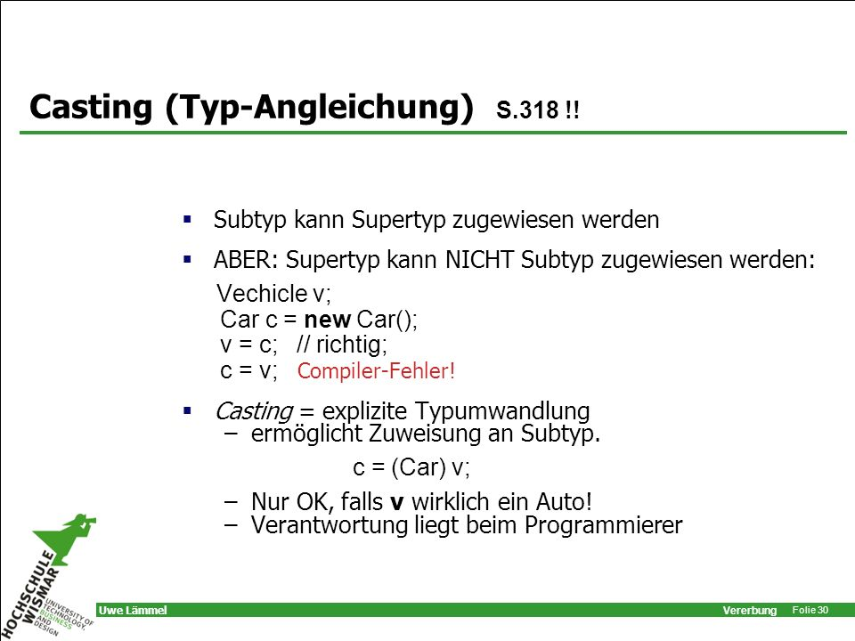 Casting (Typ-Angleichung) S.318 !!