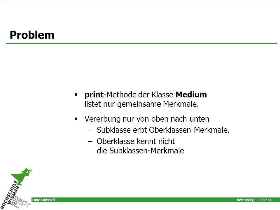 Problem print-Methode der Klasse Medium listet nur gemeinsame Merkmale. Vererbung nur von oben nach unten.