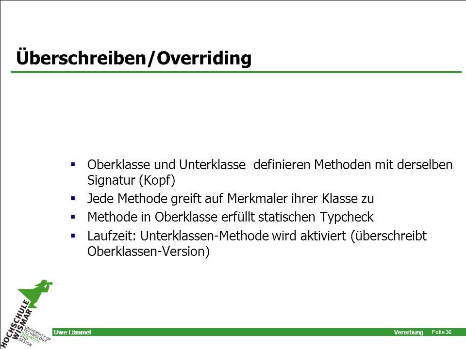 Überschreiben/Overriding