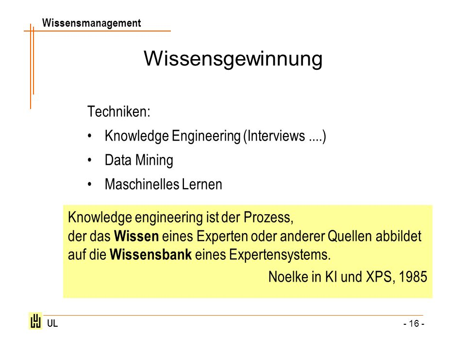 Wissensgewinnung Techniken: Knowledge Engineering (Interviews ....)