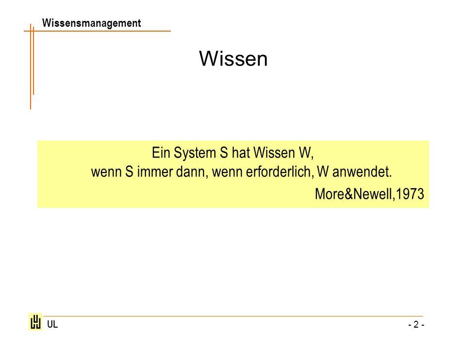 WissenEin System S hat Wissen W, wenn S immer dann, wenn erforderlich, W anwendet.