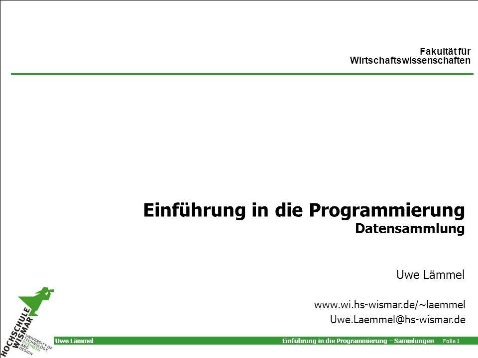 Einführung in die Programmierung Datensammlung