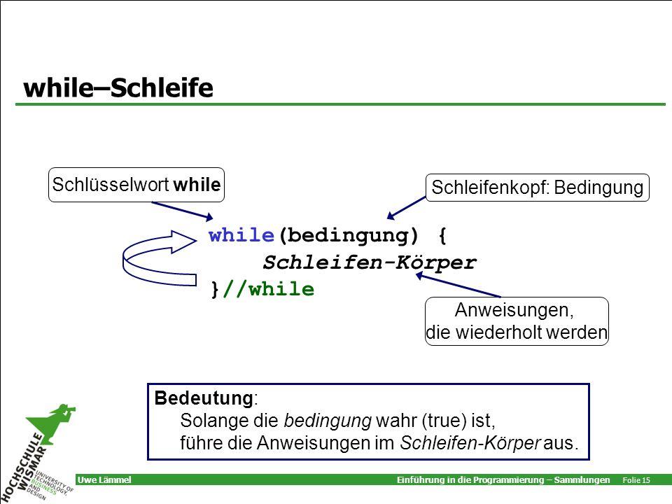 while–Schleife while(bedingung) { Schleifen-Körper }//while
