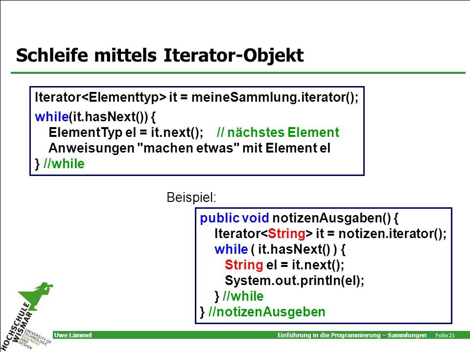 Schleife mittels Iterator-Objekt