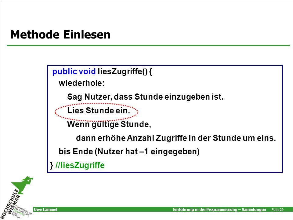 Methode Einlesen public void liesZugriffe() { wiederhole:
