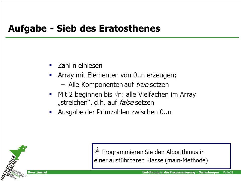 Aufgabe - Sieb des Eratosthenes