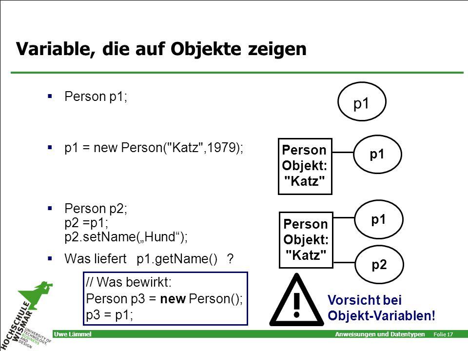 Variable, die auf Objekte zeigen