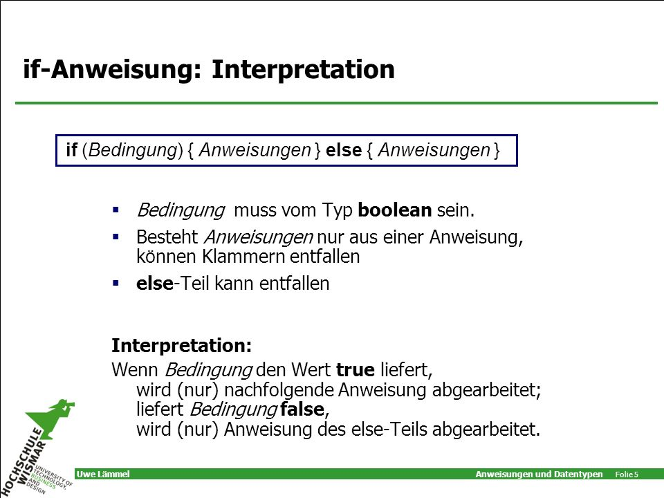 if-Anweisung: Interpretation