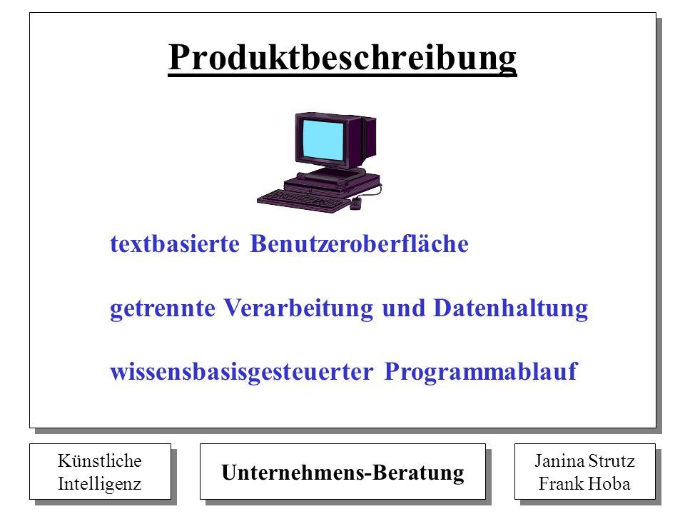 Produktbeschreibung textbasierte Benutzeroberfläche