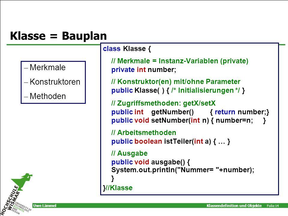 Klasse = Bauplan Merkmale Konstruktoren Methoden class Klasse {