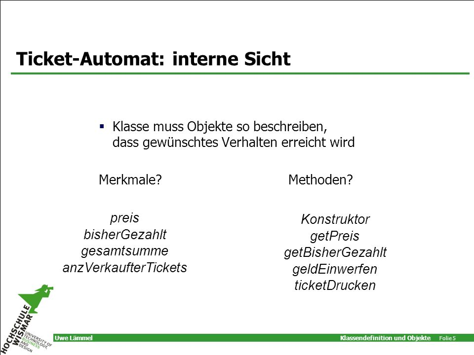 Ticket-Automat: interne Sicht