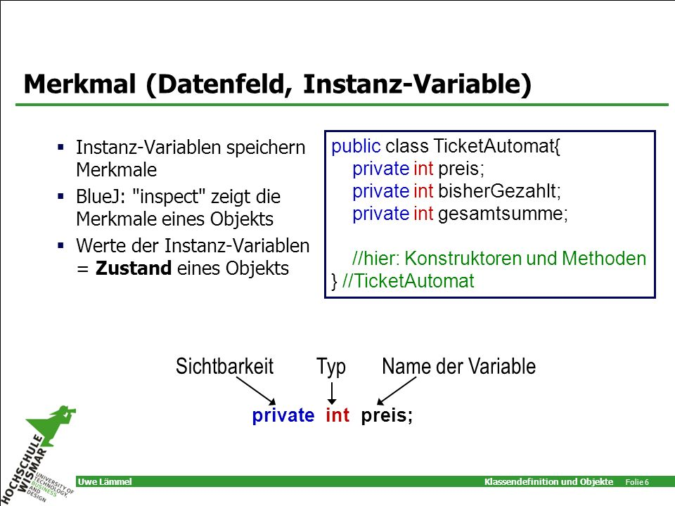 Merkmal (Datenfeld, Instanz-Variable)