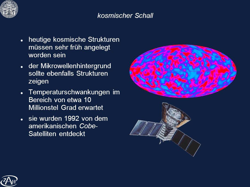 kosmischer Schall heutige kosmische Strukturen müssen sehr früh angelegt worden sein.