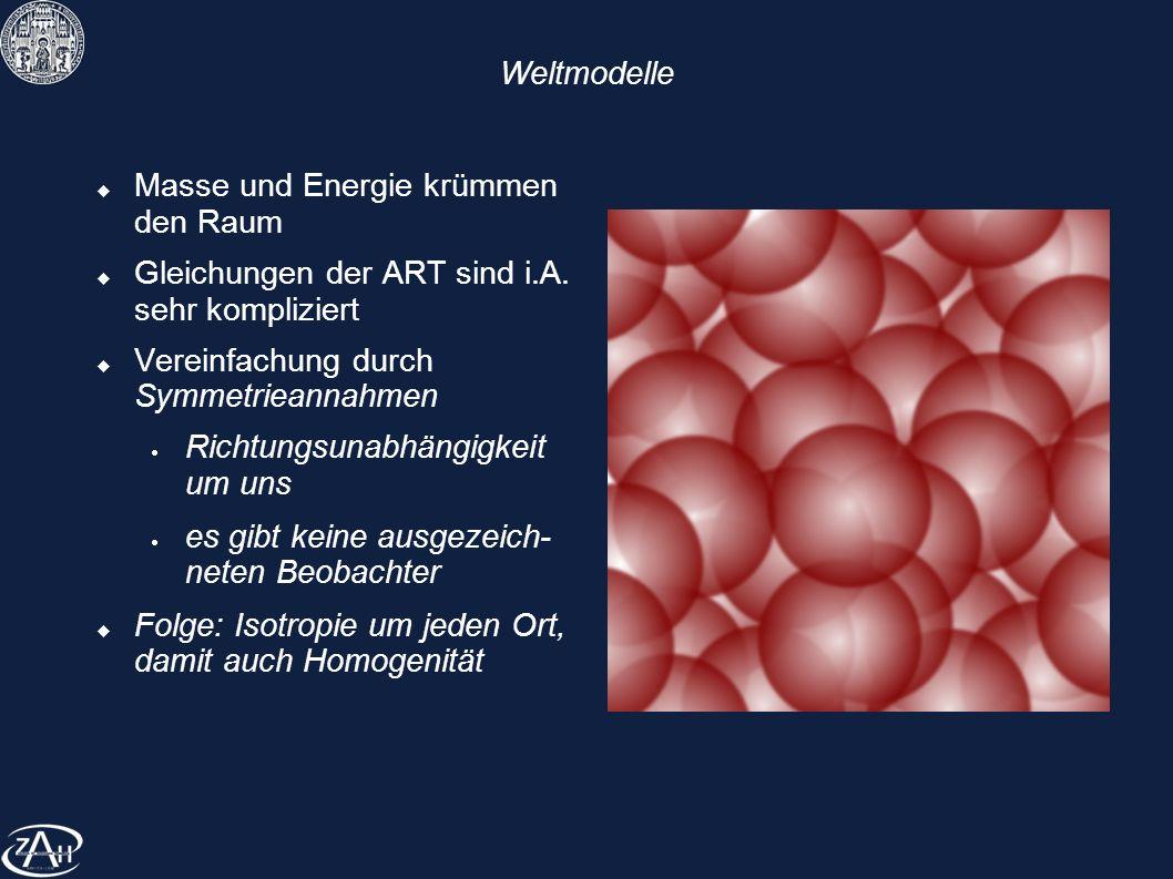 Weltmodelle Masse und Energie krümmen den Raum. Gleichungen der ART sind i.A. sehr kompliziert. Vereinfachung durch Symmetrieannahmen.