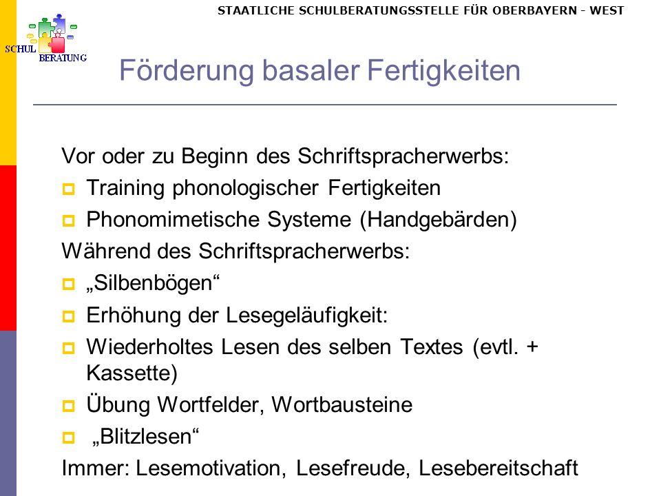 Normaler Schriftspracherwerb: Stufenmodell nach Frith / Günther