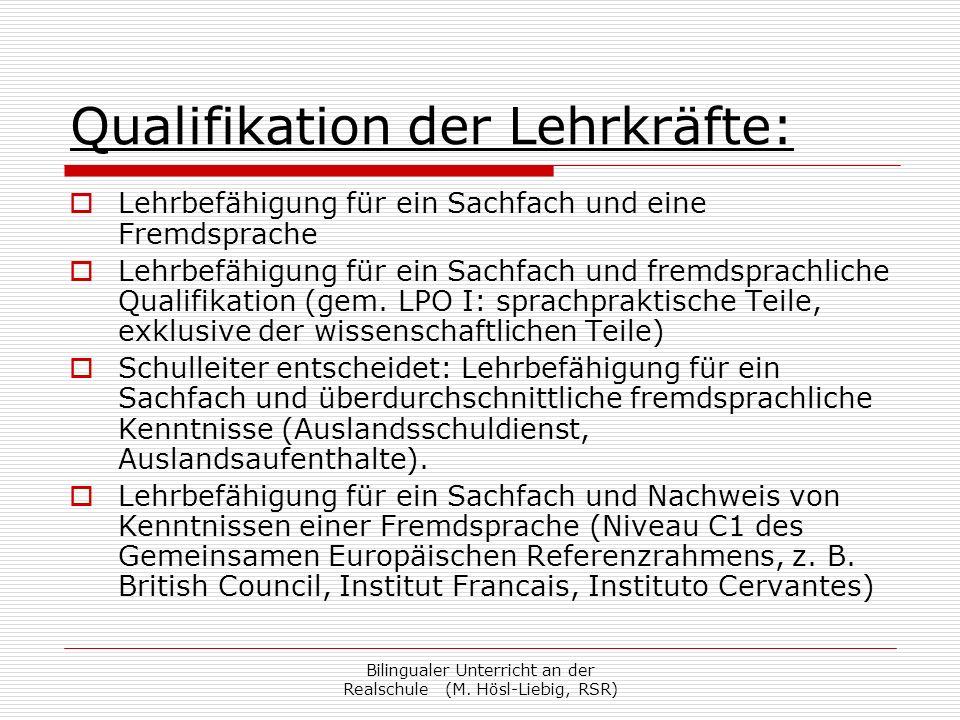 Qualifikation der Lehrkräfte: