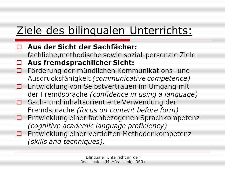 Ziele des bilingualen Unterrichts: