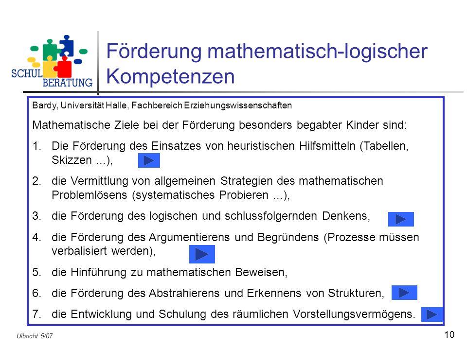 Förderung mathematisch-logischer Kompetenzen