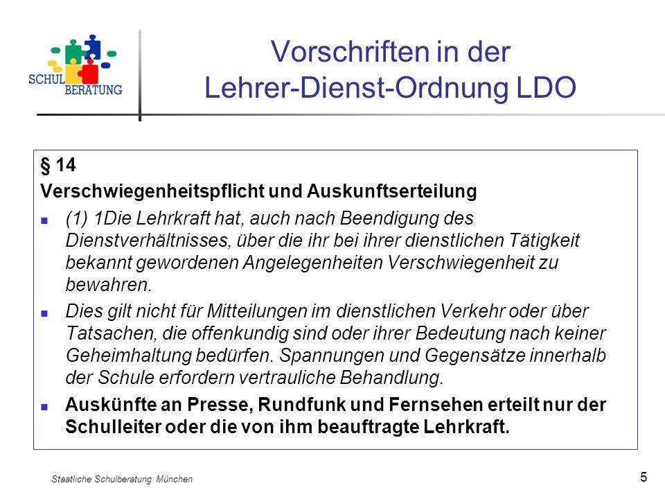 Vorschriften in der Lehrer-Dienst-Ordnung LDO