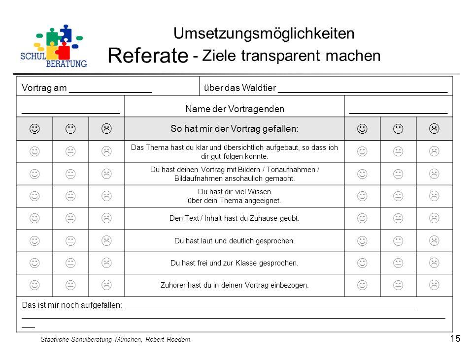Referate Umsetzungsmöglichkeiten - Ziele transparent machen   