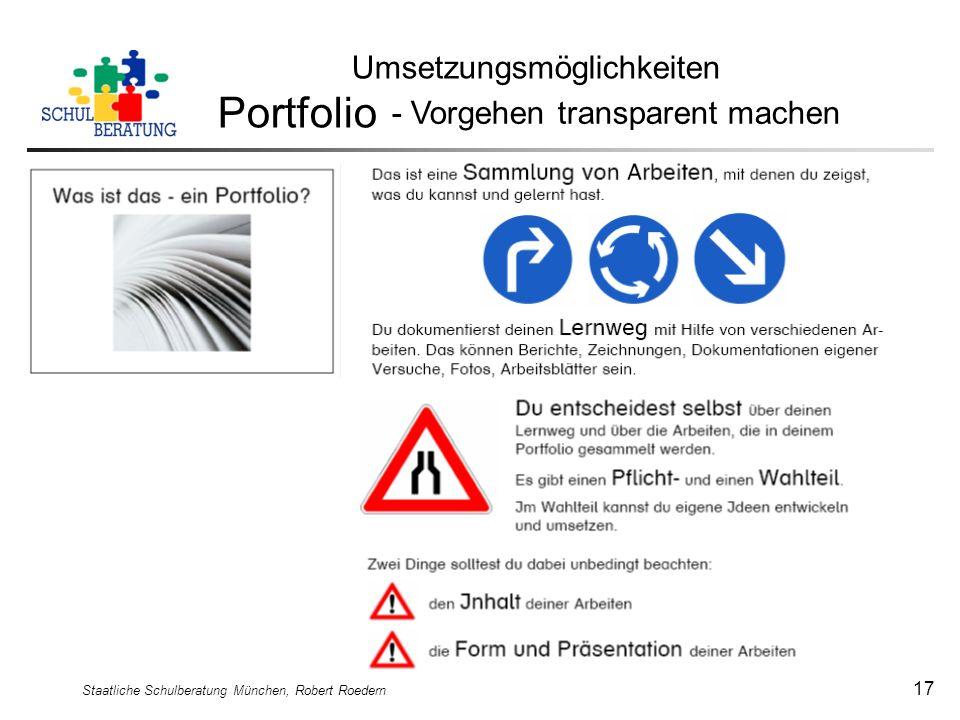 Portfolio Umsetzungsmöglichkeiten - Vorgehen transparent machen