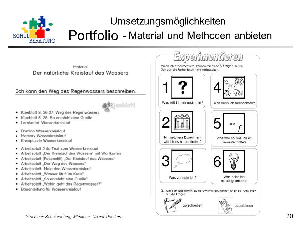 Portfolio Umsetzungsmöglichkeiten - Material und Methoden anbieten