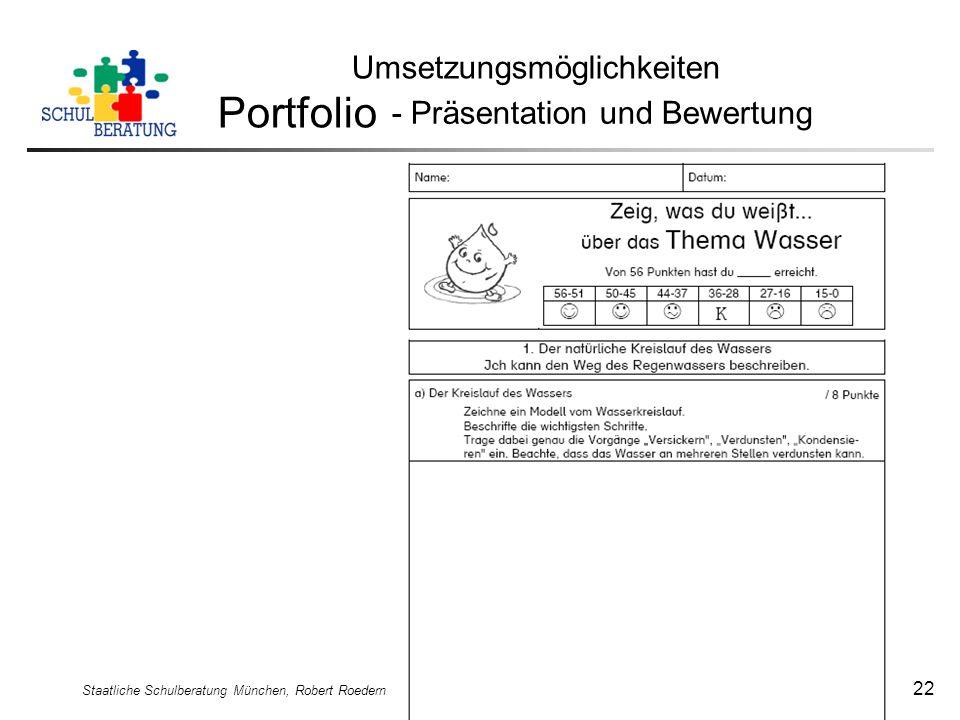 Portfolio Umsetzungsmöglichkeiten - Präsentation und Bewertung