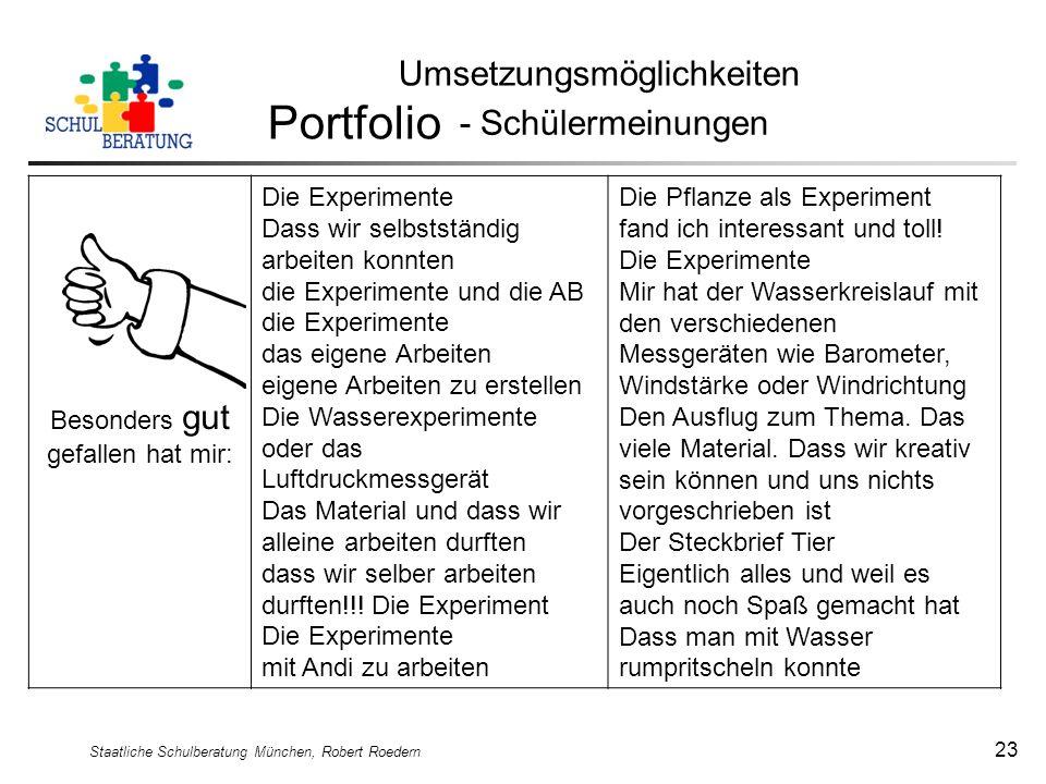Portfolio Umsetzungsmöglichkeiten - Schülermeinungen
