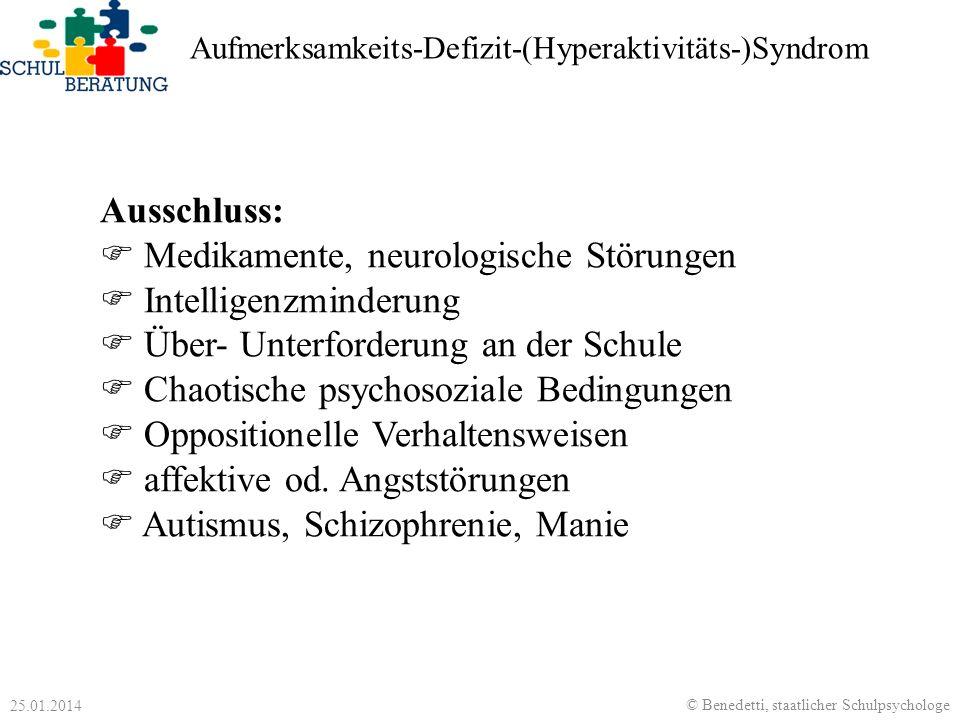 Medikamente, neurologische Störungen Intelligenzminderung