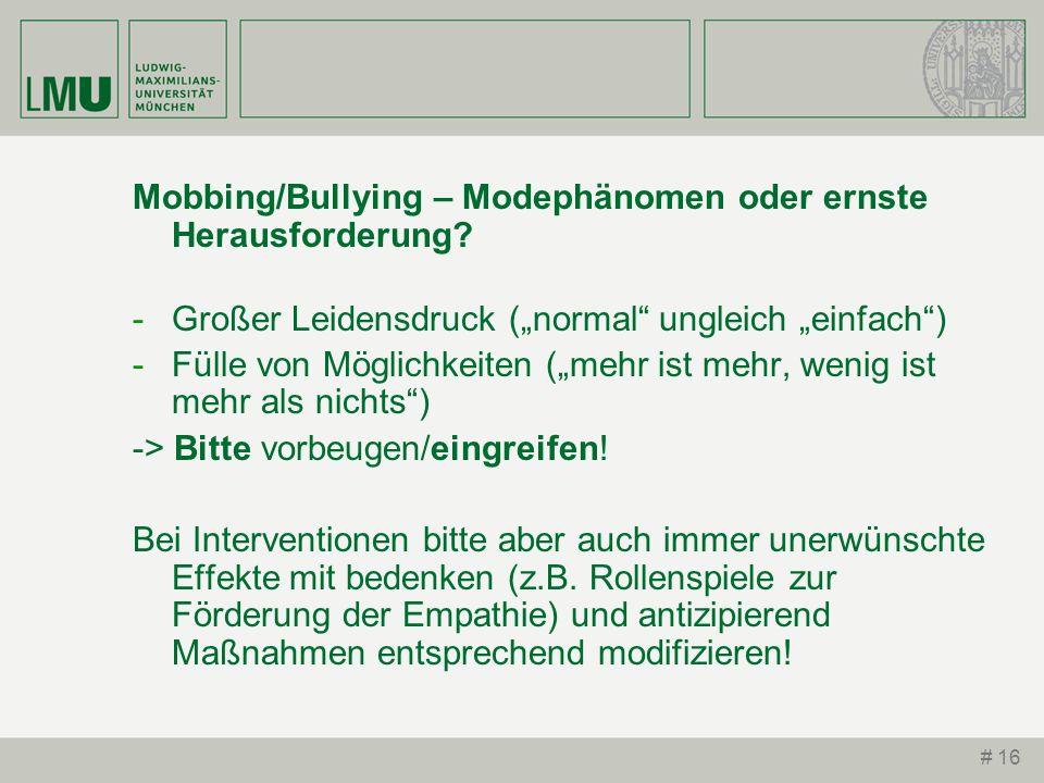 Mobbing/Bullying – Modephänomen oder ernste Herausforderung