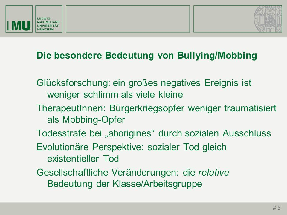 Die besondere Bedeutung von Bullying/Mobbing