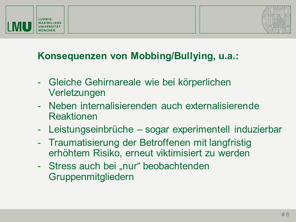 Konsequenzen von Mobbing/Bullying, u.a.: