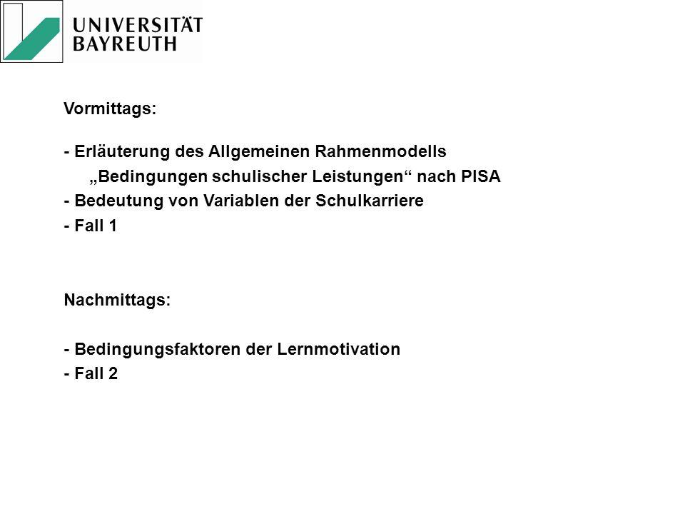 """Vormittags: - Erläuterung des Allgemeinen Rahmenmodells. """"Bedingungen schulischer Leistungen nach PISA."""