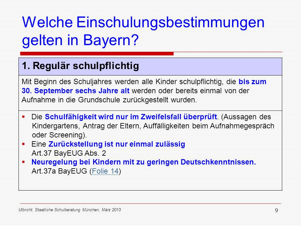 Welche Einschulungsbestimmungen gelten in Bayern