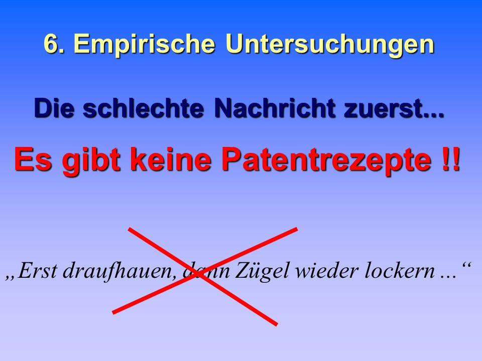 6. Empirische Untersuchungen Die schlechte Nachricht zuerst...