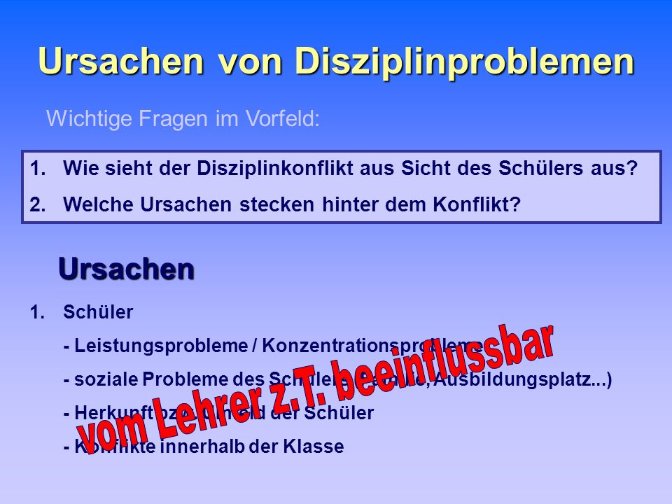 Ursachen von Disziplinproblemen