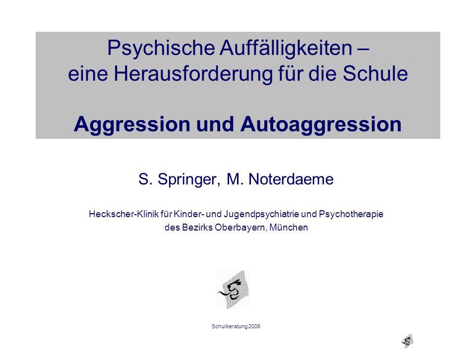 Psychische Auffälligkeiten – eine Herausforderung für die Schule Aggression und Autoaggression