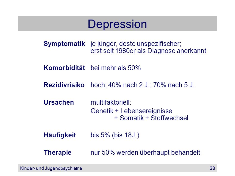 Depression Symptomatik je jünger, desto unspezifischer; erst seit 1980er als Diagnose anerkannt.