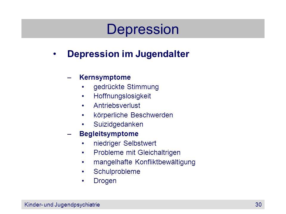 Depression Depression im Jugendalter Kernsymptome gedrückte Stimmung