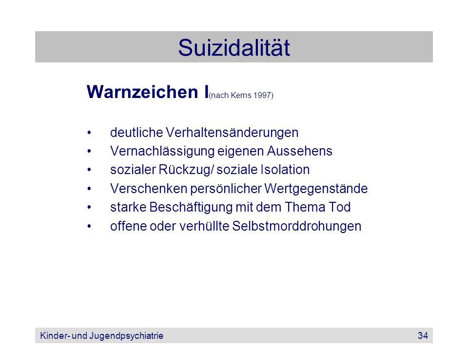 Suizidalität Warnzeichen I(nach Kerns 1997)