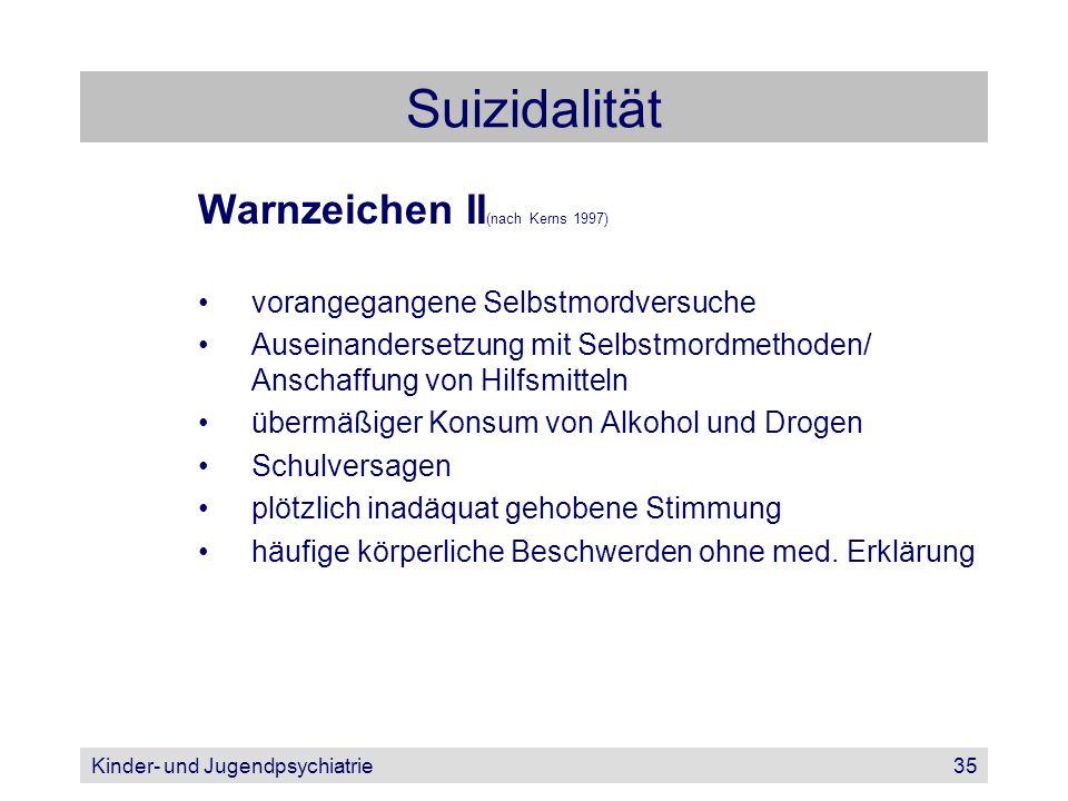 Suizidalität Warnzeichen II(nach Kerns 1997)