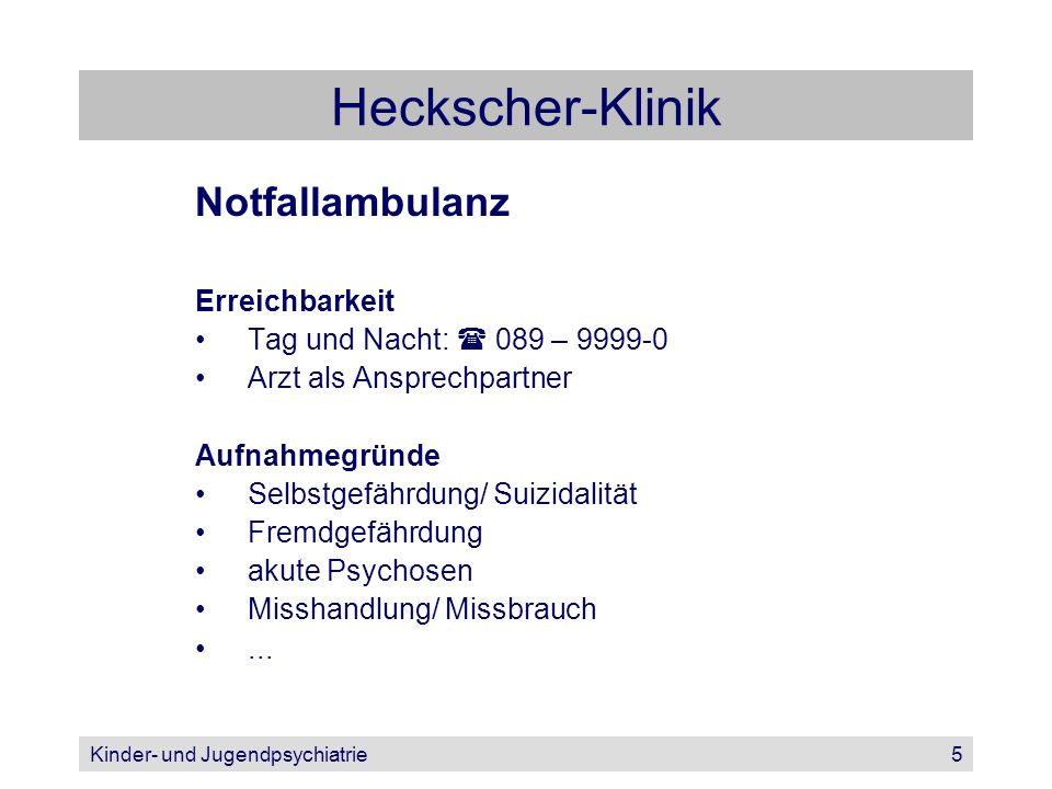 Heckscher-Klinik Notfallambulanz Erreichbarkeit