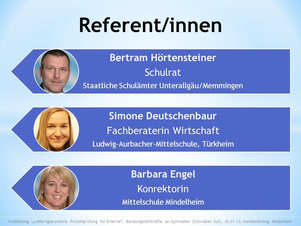 Referent/innen Simone Deutschenbaur Bertram Hörtensteiner