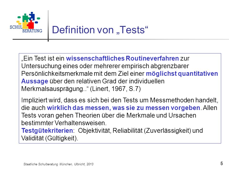 "Definition von ""Tests"