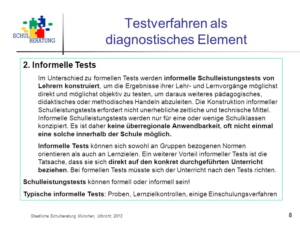 Testverfahren als diagnostisches Element