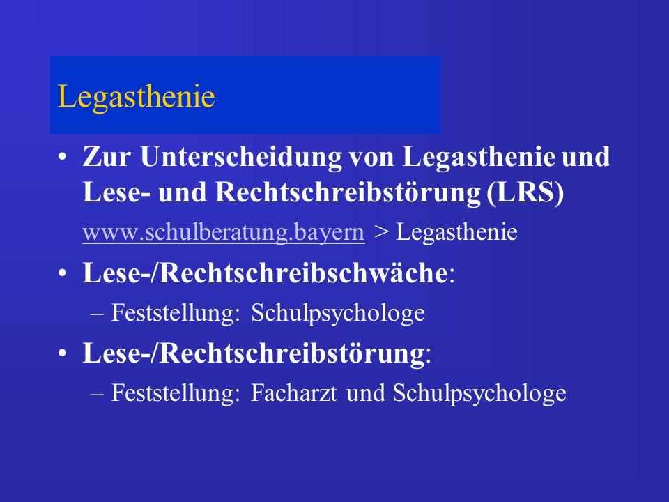 Legasthenie Zur Unterscheidung von Legasthenie und Lese- und Rechtschreibstörung (LRS) www.schulberatung.bayern > Legasthenie.