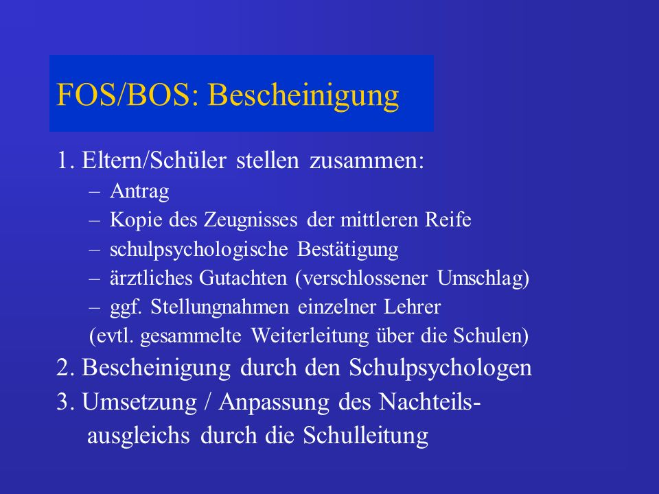 FOS/BOS: Bescheinigung