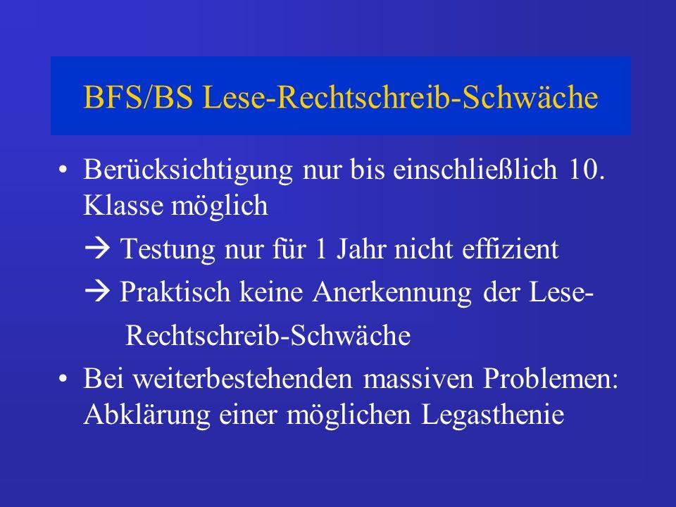 BFS/BS Lese-Rechtschreib-Schwäche