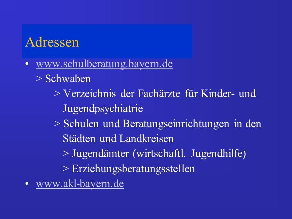 Adressen www.schulberatung.bayern.de > Schwaben